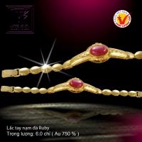 Lắc tay nạm đá Ruby vàng 18 K