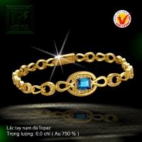 Lắc tay nạm đá Topaz vàng 18 K
