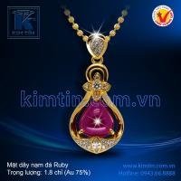 Mặt dây vàng 18k nạm đá Ruby