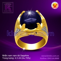 Nhẫn nam 18k nạm đá Sapphire