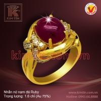 Nhẫn nữ vàng 18k nạm đá Ruby