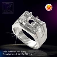 Nhẫn nam vàng trắng nạm Kim cương