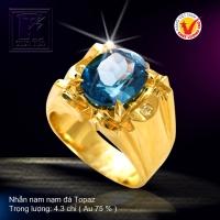 Nhẫn nam nạm đá Topaz